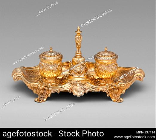 Inkstand. Maker: Probably by Andrea Boucheron (ca. 1701?-1761); Date: ca. 1753; Culture: Italian, Turin; Medium: Silver gilt; Dimensions: 6 x 13 in