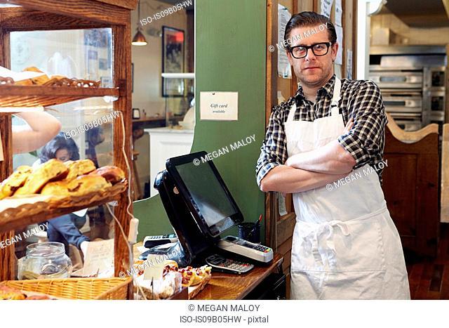 Portrait of male worker in bakery