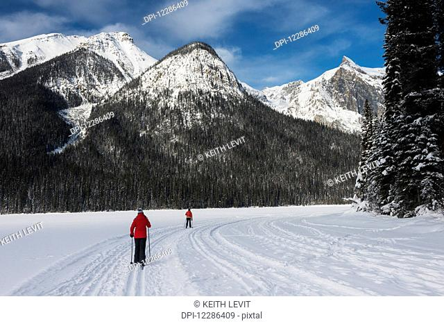 Cross country skiing in Yoho National Park; Field, British Columbia, Canada