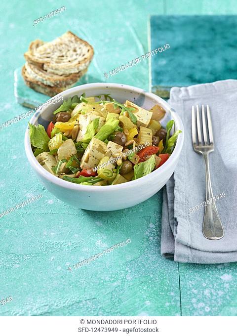 Celery and olive tofu caponata