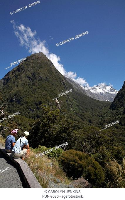 Taking a break to admire the scenery on the way to Milford Sound in January