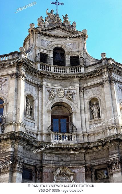 Chiesa di San Placido, S. Placido Church, close to Biscari Palace, Catania, Sicily, Italy, Europe