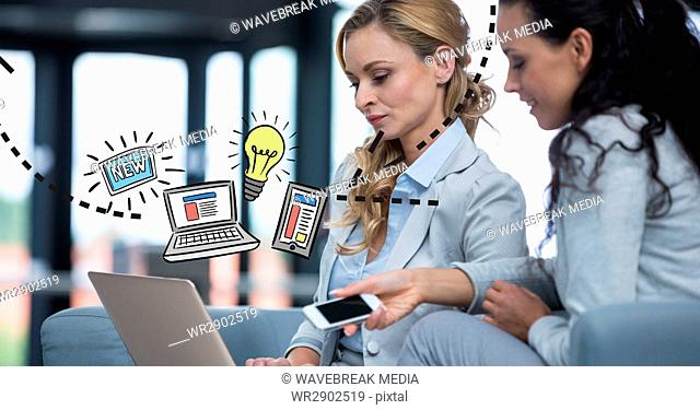 Digital composite image of businesswomen with technologies and graphics