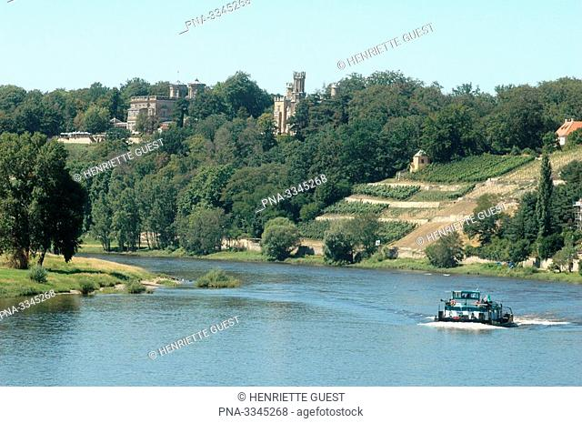 The river Elbe at Dresden at the same height of Loschwitz and Blasewitz, Germany