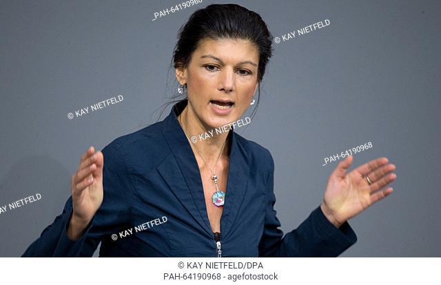 Fraction leader of the Left Party Sahra Wagenknecht speaks during a session of the German parliament (Bundestag) in Berlin, Germany, 04 December 2015