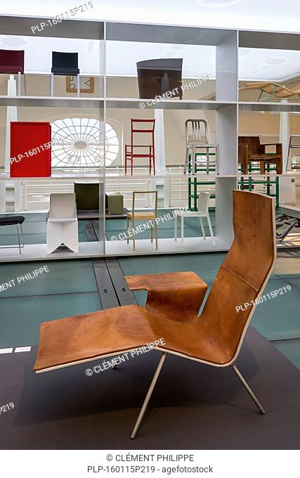 Contemporary lounge chair and furniture in the Design Museum Gent in the city Ghent, East Flanders, Belgium