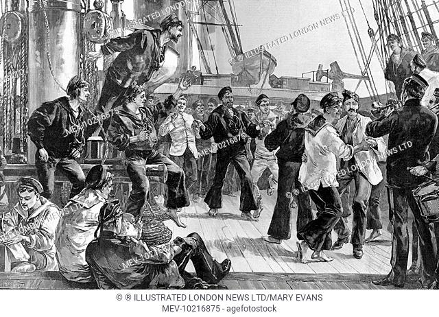 Engraving showing the deck of a Victorian warship, with the crew off duty, entitled 'Hands to Dance and Skylark'. Sailors smoking