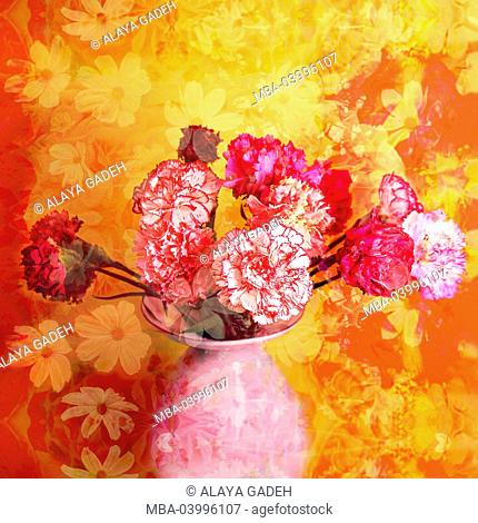 carnations in vase with floral ornaments