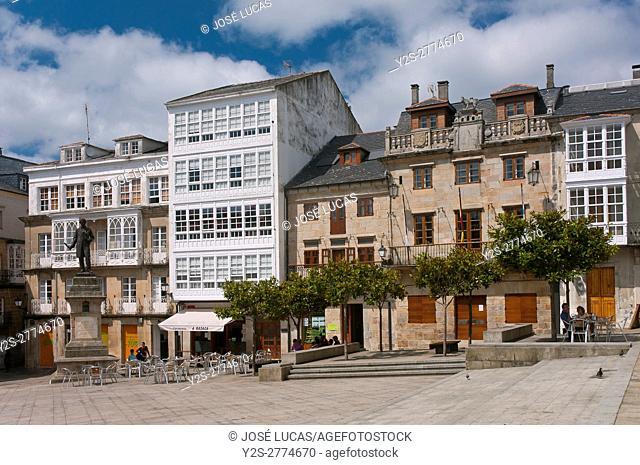 Main square and town hall, Viveiro, Lugo province, Region of Galicia, Spain, Europe