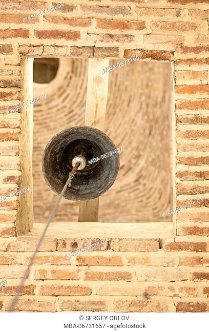 rope, clapper, bell, belfry, vertical, view from below