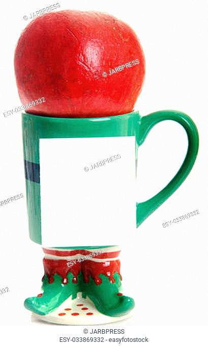 Coffee mug with pomegranate white note pad for Christmas, Holidays or promotional message
