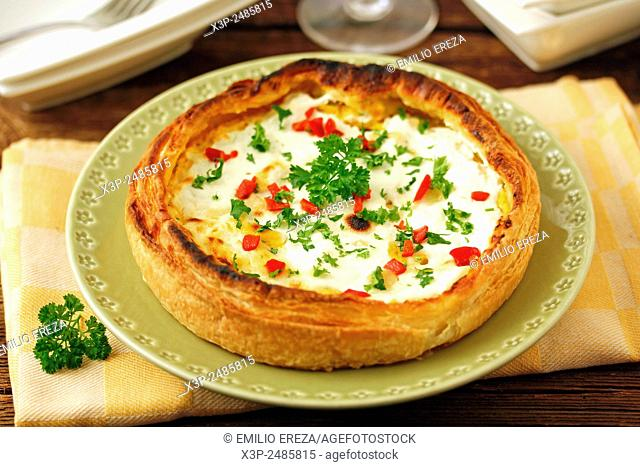 Quiche with monkfish and scallops