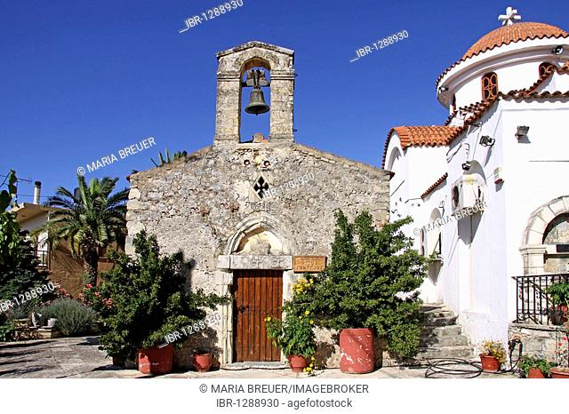 Agios Ioannis Church, old and new, Axos, Crete, Greece, Europe