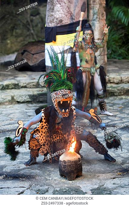 Dancers performing a representative shaman ceremony of the Pre-Hispanic Mayan Culture, Xcaret, Playa Del Carmen, Riviera Maya, Yucatan Province, Mexico