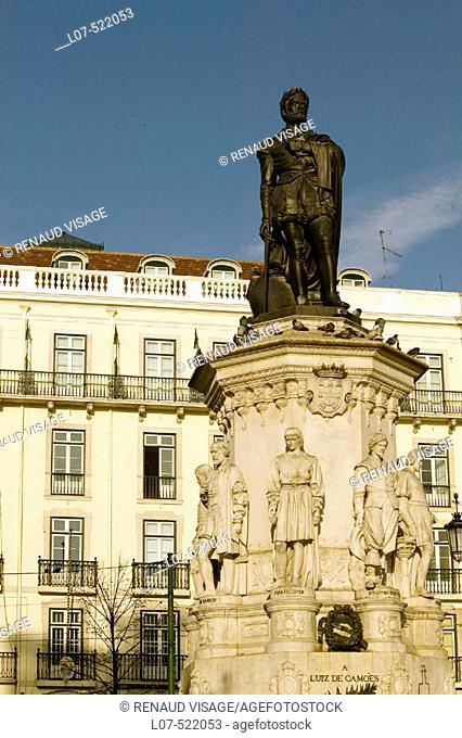 Statue of Luis de Camões on Camões Square in the Chiado District. Lisbon. Portugal