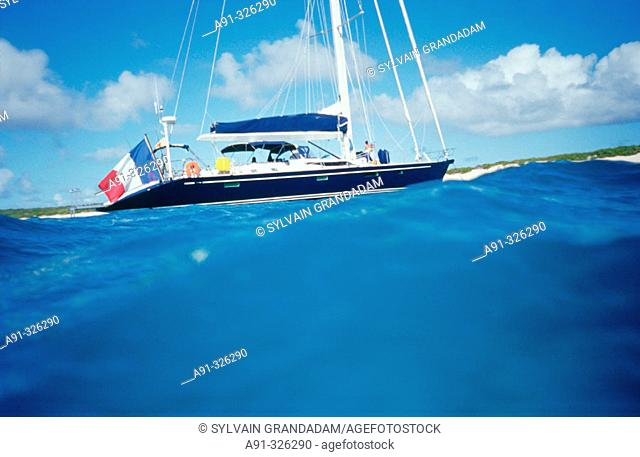 View from the sea, sailing on a private yatch. British West Indies