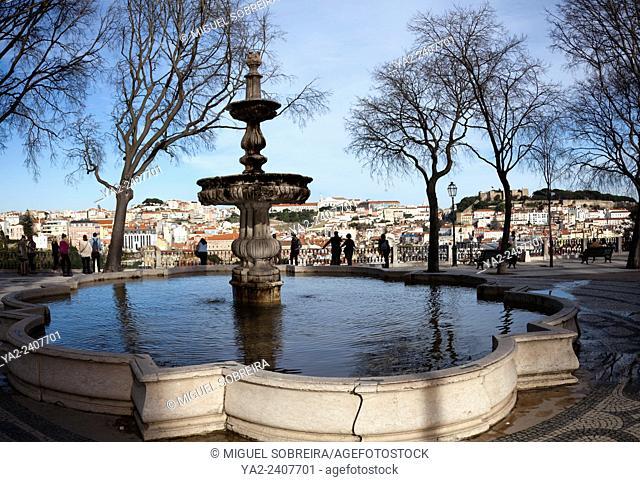 Fountain in Jardim de São Pedro de Alcântara in Bairro Alto in Lisbon - Portugal