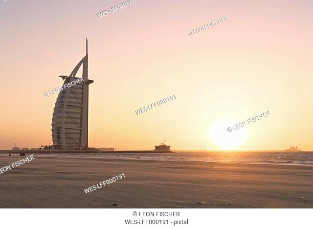 United Arab Emirates, Burj al Arab at sunset