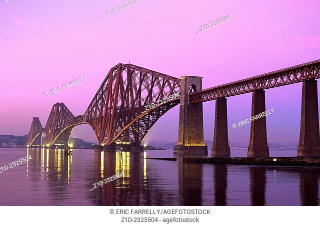 Evening dusk over the Forth Railway Bridge Scotland