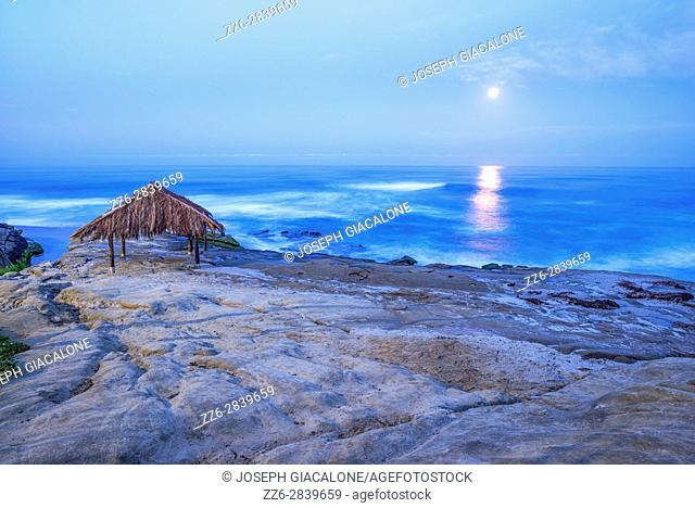 View of the Pacific Ocean and coastline in the early morning. Windansea Beach, La Jolla, California, USA