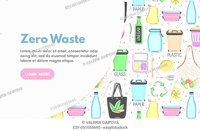 Vector background with zero waste objects. Hand drawn flat style. Eco lifestyle. Save planet. Care of nature. Online store