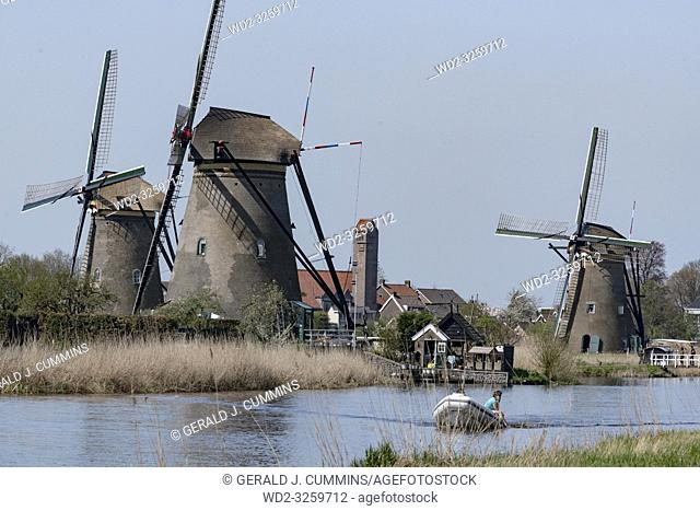 Netherlands, Kinderdijk, 2017, Iconic heritage site with 19 windmills from the 1700s & museum exhibits about water management