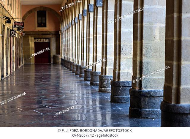 Arcade of Constitucion Square, old town of San Sebastian, Basque Country, Spain