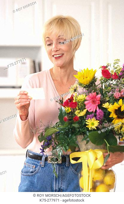 Happy to receive a beautiful bouquet of flowers