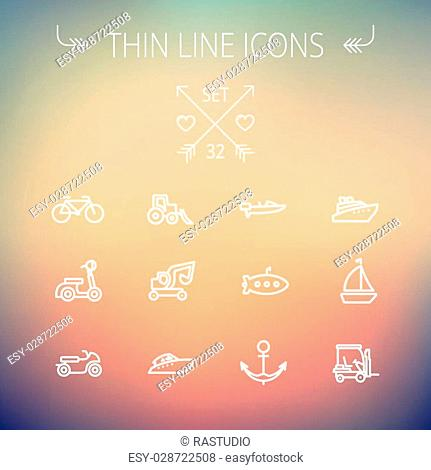 Transportation thin line icon set for web and mobile. Set includes- golf cart, trucks, motor, boat, submarine, anchor icons