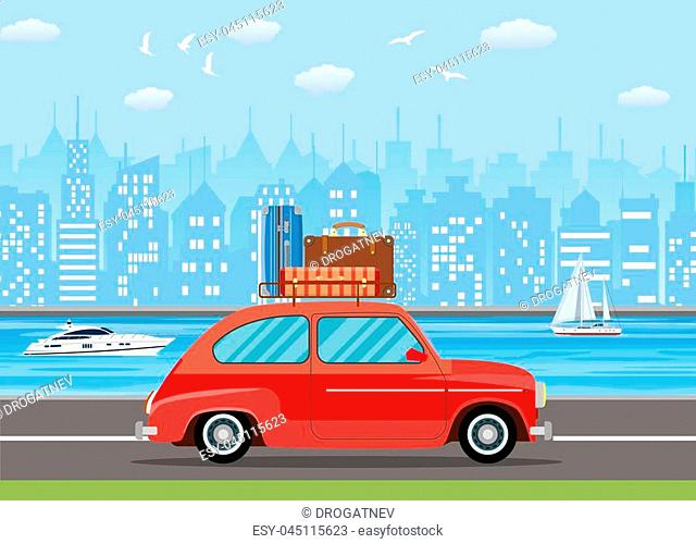 retro travel van car with bag on roof. Urban a landscape with skyscrapers vector illustration in flat design