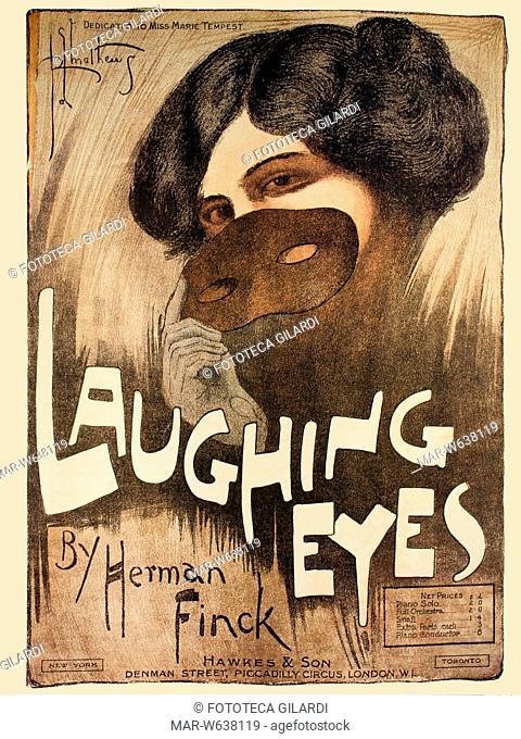 MUSICA -Laughing Eyes-, copertina dello spartito musicale di una canzone dedicata alla cantante ed attrice britannica Miss Marie Tempest (1864-1942)