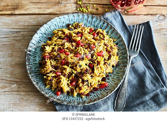 Jeweled rice (rice with barberries and saffron, Persia)