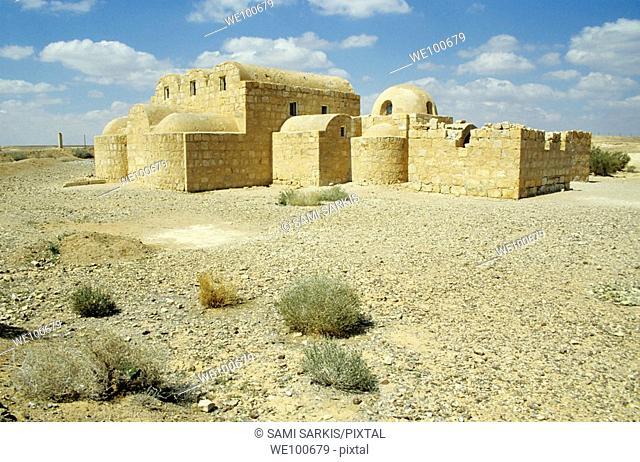 Ruins of Qasr Amra, an 8th century Muslim castle in the desert, Jordan