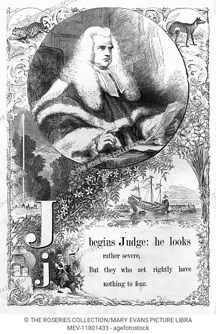 The Mother's Picture Alphabet -- J, showing a judge in his robes