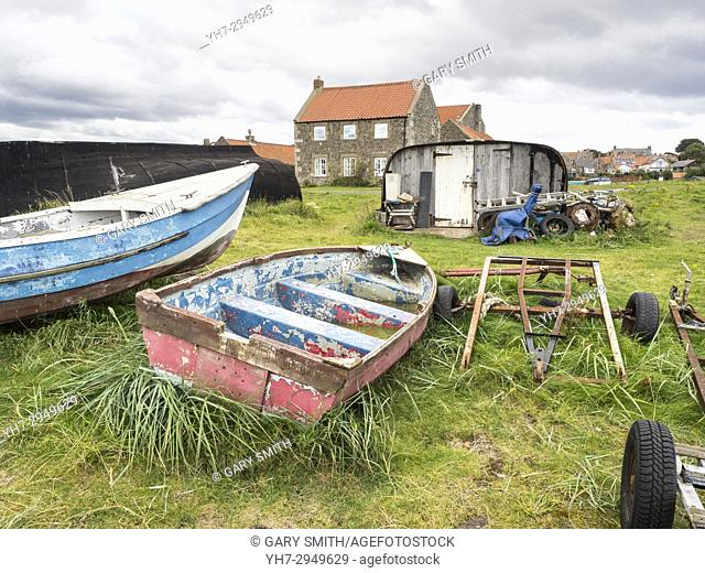 Fishermens huts and equipment, Lindisfarne. Northern England