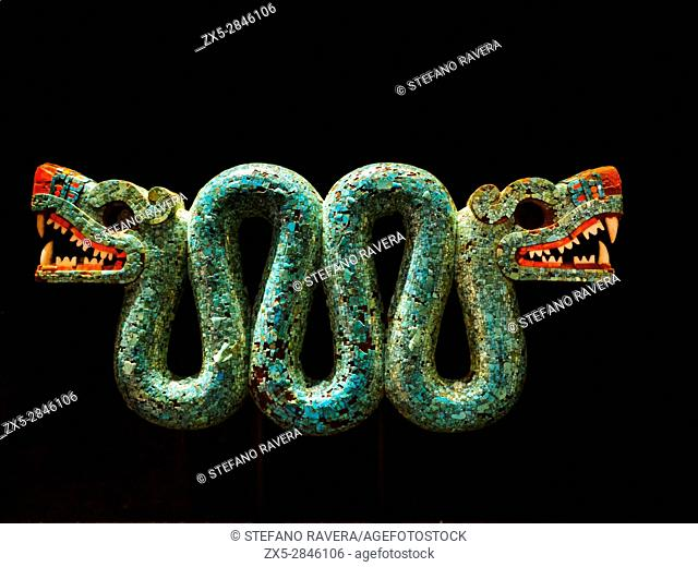 Stone Rattlesnake (crotalus durissus). Aztec, AD 1300-1521. British Museum - London England
