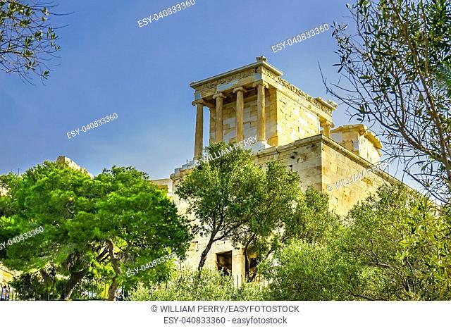 Temple of Athena Nike Propylaea Ancient Entrance Gateway Ruins Acropolis Athens Greece Temple built 420 BC