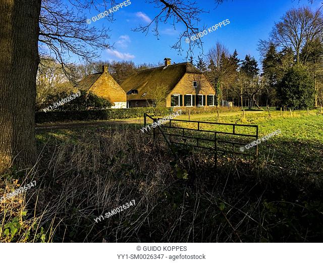 Bilthoven, Netherlands. Old fashioned farmhouse with stables and barn inside an old forrest with meadows during a sunny, fall season morning