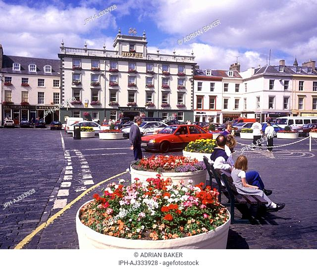 Wide cobbled square in Kelso. The Borders town stands on the River Tweed near the Cheviot Hills