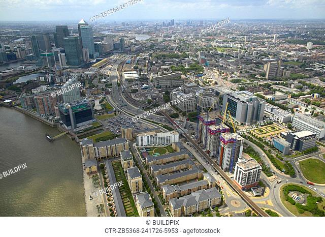Aerial view of property development in the Docklands, London, UK