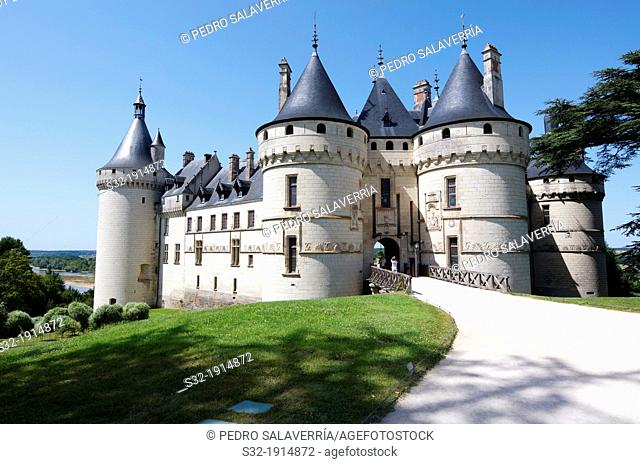 Entrance to the castle of Chaumont Sur Loire, Loire Valley, France  Originally built in the 10th century, has undergone multiple renovations until reaching its...