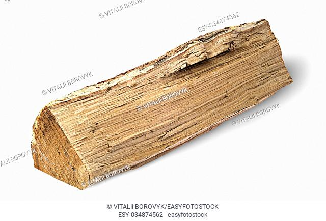 Single log of wood horizontally isolated on white background