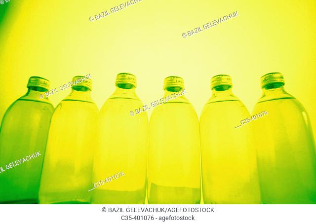 Mineral water, glass bottles