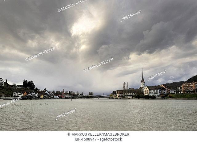 Storm over the old town of Stein am Rhein, Canton Schaffhausen, Switzerland, Europe
