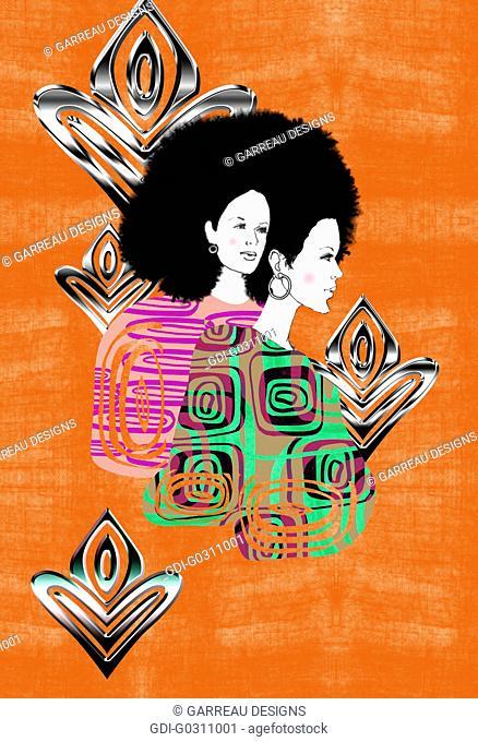 Afro woman design on orange background