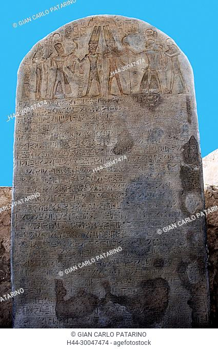 Luxor, Egypt. Temple of Merenptah (Baenra Meriamon) XIX° dyn. son of Ramses II the Great: a stele of the king Nebmaatra Sethi I
