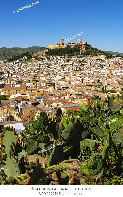 Panoramic view typical Andalusian village of Alcala la Real. Jaen province, southern Andalusia. Spain Europe