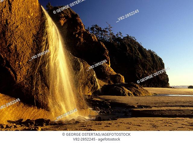 Beach waterfall, Hug Point State Park, Oregon