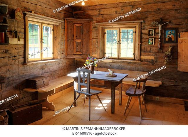 Farmhouse room, Markus Wasmeier Farm and Winter Sports Museum, Schliersee, Upper Bavaria, Bavaria, Germany, Europe