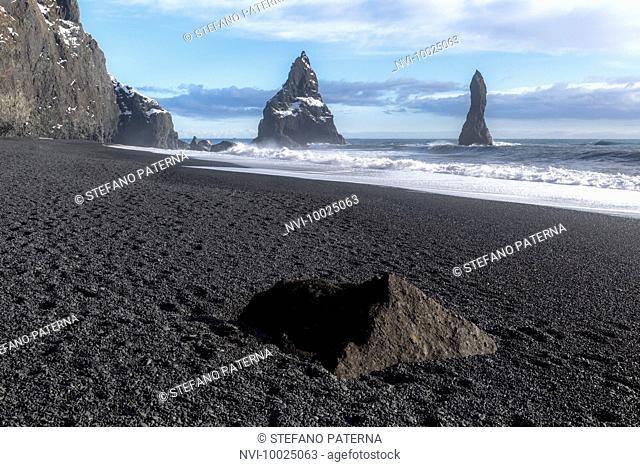 Reynisdrangar, black pinnacles off the coast of Vik i Myrdal, Iceland